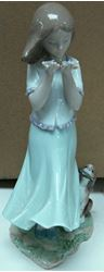 Picture of LLADRO FIGURINE WHISPERING BREEZE GIRL WITH PUPPY