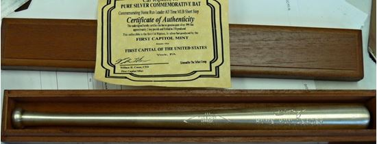 Picture of CAL RIPKEN JR SILVER BAT FIRST CAPITOL MINT 2 TROY POUNDS .999 FINE SILVER
