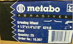 """Picture of METABO A24-R GRINDING WHEELS 4 1/2""""X1/4""""X7/8"""" STEEL 16.037 25PCS."""