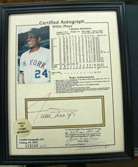 Picture of HALL OF FAME WILLIE MAYS CERTIFIED AUTOGRAPH