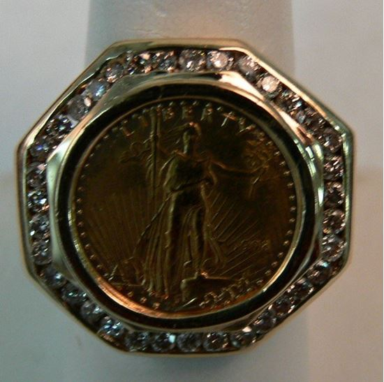 Picture of 14K GOLD MENS RING WITH AMERICAN EAGLE $5 GOLD COIN INSIDE 1/10 OZ SZ-9 13.3G