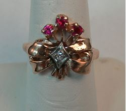 Picture of 14K ROSE GOLD WOMENS RING WITH RED STONES & DIAMONDS SZ-6.75 4.6G