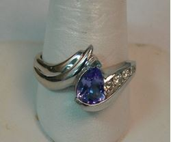 Picture of 14K WHITE GOLD WOMENS RING WITH BLUE STONE & DIAMONDS SZ-10.5 6.6G