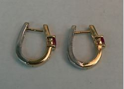 Picture of 14K TWO TONE GOLD REVERSIBLE HUGGIE EARRINGS WITH RUBY & DIAMONDS 3.7G