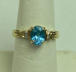 Picture of 14K YELLOW GOLD RING WITH BLUE STONE AND DIAMONDS SZ-6.75 2.8G