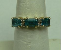 Picture of 14K YELLOW GOLD RING W/ BLUE STONES & DIAMONDS SZ-6.25 2.7G