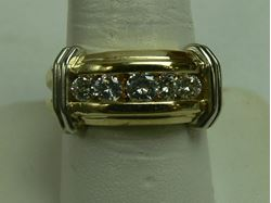 Picture of 14K YELLOW GOLD RING W/ WHITE GOLD BARS ON THE SIDE & DIAMONDS SZ-9 9.3G
