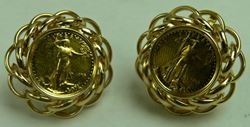 Picture of 14K GOLD COIN EARRINGS 15.2G