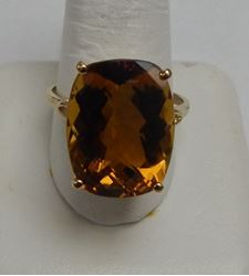Picture of 10K YELLOW GOLD LIGHT BROWN STONE RING SZ-12.25 7.5G