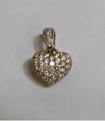 "Picture of 14K GOLD REVERSIBLE DIAMOND HEART PENDANT .75"" 5.1G"
