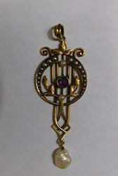 "Picture of ANTIQUE PENDANT 14K GOLD WITH AMETHYST AND PEARLS 2"" 3.7G"