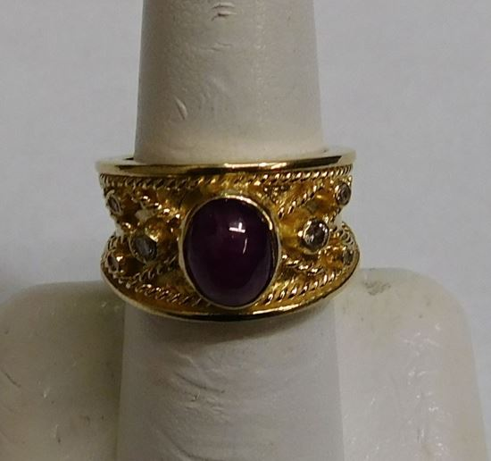 14K GOLD RING CABOCHON RED STONE AND DIAMONDS SIZE 6 5 10 9G