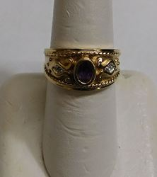 Picture of 10K GOLD RING WITH PURPLE AMETHYST STONE AND DIAMONDS SIZE 7 3G