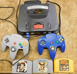 Picture of NINTENDO 64 CONSOLE WITH 2 CONTROLLERS 4 GAMES 2 MEMORY CARDS