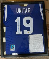 Picture of JOHN UNITAS AUTOGRAPHED JERSEY SIGNED AND FRAMED WITH COA AND CARD