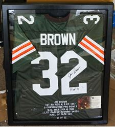 Picture of JIM BROWN CLEVELAND BROWNS AUTOGRAPHED LIMITED EDITION JERSEY FRAMED WITH COA