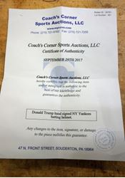 Picture of Donald Trump Hand Signed NY Yankees Batting Helmet with COA Extremely Rare
