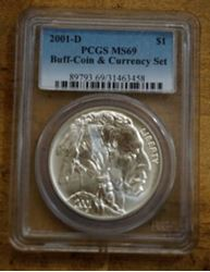 Picture of 2001 D Denver Buffalo Commemorative Silver Dollar $1 PCGS MS 69