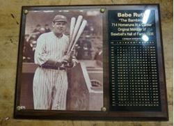 """Picture of BABE RUTH """"THE BAMBINO"""" CAREER STATISTICS PLAQUE"""