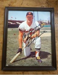 Picture of Boog Powell autographed picture framed. Orioles. Rare