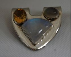 Picture of STERLING SILVER SLIDE PENDANT WITH MOONSTONE, OPAL , YELLOW CITRINE