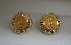 Picture of 14kt yellow gold earrings with 1994 5 dollar fine gold coin 1/10th
