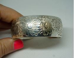 Picture of STERLING SILVER 925 S. KIRK AND SON FLOWER DESIGN BANGLE CUFF 38.2 GR