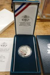 Picture of 1991 KOREAN WAR MEMORIAL COIN PROOF SILVER DOLLAR W BOX AND COA MINT