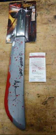 Picture of Friday The 13th Movie Rare Jason Voorhees Signed Prop Machete Ari Lehman JSA COA