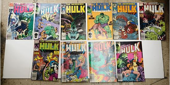 Picture of LOT 10 MARVEL THE INCREDIBLE HULK COMICS 311 SEPTEMBER; 300 OCTOBER; 347 SEPTEMBER;  387 NOVEMBER; 385 SEPTEMBER; 341 MARCH; 320 JUNE; 350 DECEMBER; 313 NOVEMBER; 388 DECEMBER. GOOD CONDITION. COLLECTIBLE.