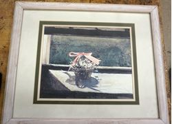 """Picture of Andrew Wyeth (May Basket) Plate Signed Framed Lithograph (21"""" x 17"""")"""