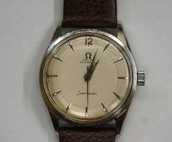 Picture of VINTAGE OMEGA SEAMASTER MEN'S  WATCH CO SWISS SEVENTEEN JEWELS GOOD CONDITION . AFTERMARKET LEATHER BAND.