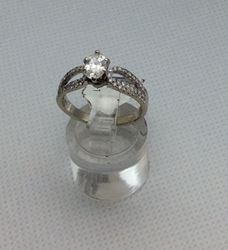 Picture of 14kt white gold engagement ring 3.4 gr size 6.5