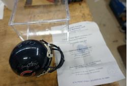 Picture of BEARS GREATS GROUP AUTO MINI SHARCO HELMET BY 5W/DITKA, SAYERS, SINGLETARY ;COA. MINT CONDITION. COLLECTIBLE.