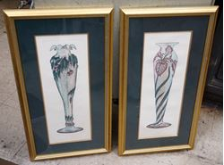 Picture of SET OF 2 FRAMED  LA LIQUE VASES 16X30  DON MITRA  GALE ETCHED HAND PAINTED. MINT CONDITION. BEAUTIFUL FRAMES.