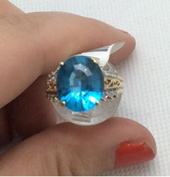 Picture of 10kt yellow gold ladies ring size 6.75 3.9gr with 4 small diamonds and blue stone 848960-1