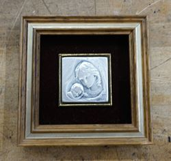 Picture of Mother and Child, Marchio Preziosi AN-22, Italy Framed 925 Sterling Silver Tile . MINT CONDITION. 3.5X3.5.