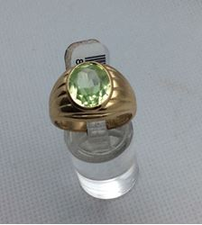 Picture of 10kt yellow gold ring with oval light green stone size 9 5.9 gr 819233-1
