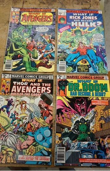Picture of LOT 4 MARVEL COMICS WHAT IF 25 FEB; 22 AUG; 12DEC; 20 APL VERY GOOD CONDITION.  COLLECTIBLE.