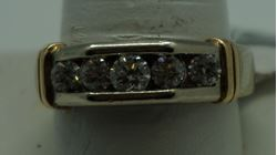 Picture of 14KT WEDDING BAND WITH  1 CARAT (5 ROUND DIAMONDS )  9.4GR WHITE AND YELLOW GOLD SIZE 10.25. PRE OWNED. VERY GOOD CONDITION. 844025-1.