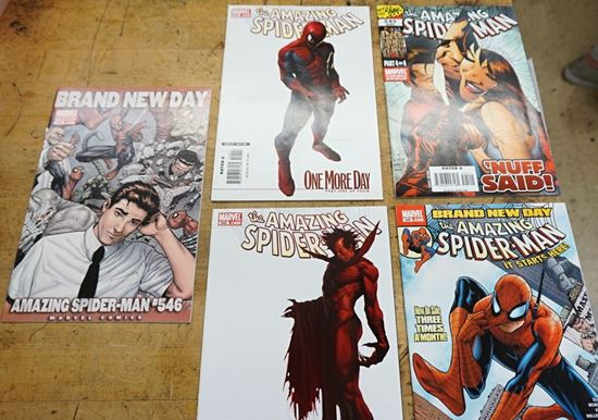 Picture of LOT 5 MARVEL COMICS THE AMAZING SPIDER MAN 545 DIRECT EDITION ONE MORE DAY PART FOUR OF FOUR;  546 BRAND NEW DAY ; 546 IT'S STARTS HERE;  545 DECEMBER PART 4OF 4 ; 544 ONE MORE DAY PART ONE OF FOUR RATED A. VERY GOOD CONDITION. COLLECTIBLE.