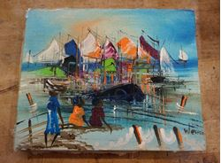 """Picture of OIL PAINTING """" PICTURE OF THE PORT """" 10' BY 8' FREE SHIPPING"""