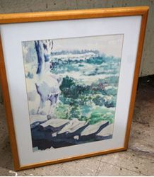 Picture of FRAMED WATERCOLOR LANDSCAPE BY ARTIST LYN BURR 21 x 16 FREE SHIPPING