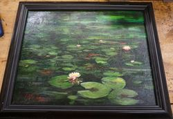 """Picture of Framed oil painting """" Lilly Pad scene """" 20 x 16 FREE SHIPPING"""