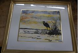 """Picture of FRAMED WATERCOLOR PAINT """"STORK IN MARSH """" 17X 21 FREE SHIPPING"""