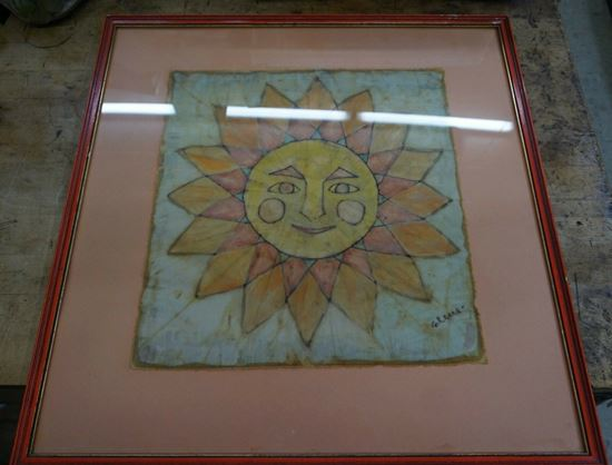 """Picture of FRAMED BATIK ON CLOTH """"SUN """" BY ARTIST ELENA 20 X 20 FREE SHIPPING"""