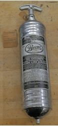 Picture of Vintage Pyrene Heavy Vehicle Type Fire Extinguisher 1 Quart Original Bracket. very good condition. with tag. please look at all the pictures.