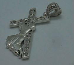 "Picture of 10kt white gold cross with Jesus "" Jesus carrying the cross"" 7.5 grams with czs 764801-1"