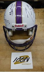 Picture of Riddel Helmet signed by 8 Ravens Players NEW ORLEANS Super Bowl XLVII 02.03.13 with COA ICON MEMORABILIA certificate # 12048.  signed by Dennis Pitta , Justin Tucker, Halotu Ngata, Ray Rice,Torrey Smith, Terrell Suggs, Ed Reed, Ray Lewis  good condition.