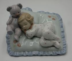 Picture of LLADRO Figurine #6790 Counting Sheep Mint Girl with Teddy Bear mint condition.